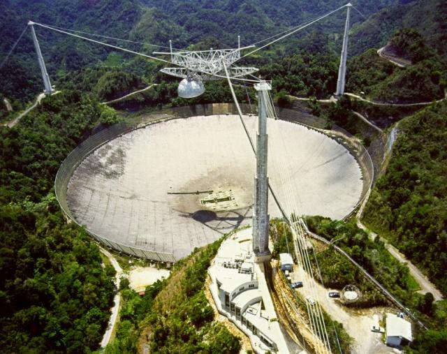 Radiotelescopio de Arecibo, donde se explora el espacio en busca de señales de radio provenientes de otras civilizaciones.